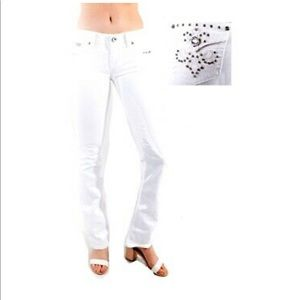 50 % LA Idol Bootcut WHITE Denim Jean Stretch